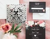 Gorgeous Silver Grey Shimmer Laser Cut Lace Petal Fold Black Blush Pink Floral Wedding Invitation RSVP Card and Envelope Pocket Flowers