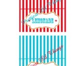 Carnival Circus Tent Style Food Labels Seating Place Cards Girl or Boy Birthday Party Bridal Baby Shower Wedding Red Blue Yellow Digital DIY