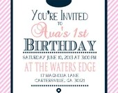 Traditional Shabby Chic Nautical Girl or Boy Birthday Party Bridal or Baby Shower Invitation Wedding Pink Navy Blue