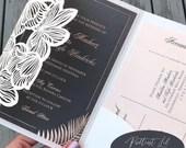 Foil Printed Grey Blush Pink Laser Cut Pocket Fold Tropical Palm Wedding Invitation RSVP Card Details or Accommodations Card and Envelope