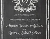 Shabby Chic Vintage Chalkboard Initial Wedding Invitation Birthday Party Bridal or Baby Shower Sign Digital
