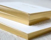 Luxurious 260 lb Double Thick Gold Foiled Edge Foil Stamped Wording Wedding Invitation RSVP Card Envelope Ecru Cream Bridal Shower or Baby