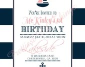 Nautical Invitation Boy or Girl Baby or Bridal Shower Birthday Party Wedding Navy Blue Pink White Digital File