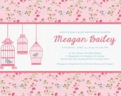 Shabby Chic Girl Baby Shower or Birthday Party Invitation Bird Cage Pink