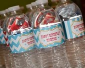 Carnival Circus Water Bottle Labels Drinks Soda Wraps Girl or Boy Birthday Party Bridal or Baby Shower Wedding Red Blue Yellow Digital DIY