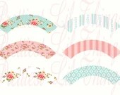 Shabby Chic Printable DIY Cupcake Wrappers Girls First Birthday Party Banner Baby Bridal Shower Wedding Digital Vintage
