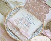 Blush Pink Laser Cut Petal Fold Invitation Girls Princess First Birthday Tea Party Fairytale Wedding RSVP Envelope Champagne Glitter Ribbon