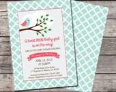 Tweet Little Birdie Invitation Bird Birthday Party Bridal or Baby Shower Wedding Digital File Pink Blue Brown