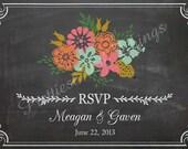 Shabby Chic Vintage Chalkboard RSVP Card Floral Flowers Wedding Invitation Birthday Party Bridal or Baby Shower Sign Digital