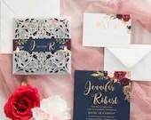 Navy Blue Burgundy Marsala Silver Shimmer Laser Cut Petal Fold Wedding Invitation Floral Belly Band RSVP Card Envelope