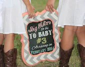 Shabby Chic Vintage Chalkboard Baby Birth Announcement Photo Shoot Prop Sign For Big Sister or Brother