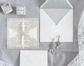 Elegant Silver Glitter Laser Cut Petal Fold Wedding Invitation Satin Ribbon Rhinestone Embellishment RSVP Card Envelope Liner Pocket Gold