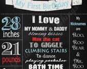 Vintage 20x30 Chalkboard Sign Girls or Boys First Birthday Party Bridal or Baby Shower Wedding Digital DIY Elephant Carnival Fair Circus