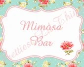 Shabby Chic Table Sign Printable DIY Girls First Birthday Party Baby or Bridal Shower Wedding Digital Vintage Pink