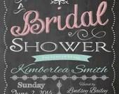 Shabby Chic Vintage Chalkboard Bridal Shower Invitation Baby Shower Birthday Party Wedding Digital