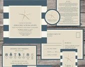 Nautical Beach Theme Starfish Wedding Suite Package Invitation Baby or Bridal Shower Birthday Party Vintage Navy Blue Beige Digital File