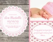 Shabby Chic Girl or Boy Baby Announcement Shower or Birthday Party Invitation Blue Yellow Pink Gray