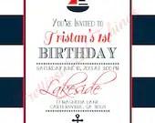 Nautical Invitation Boy or Girl Baby or Bridal Shower Birthday Party Wedding Navy Blue Red White Digital File