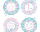 Shabby Chic Vintage Winter ONE-derland Cupcake Toppers Happy Birthday Party Bridal Baby Shower ONEderland Wonderland Frozen Snowflake Digita