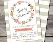 Shabby Chic Floral Wreath Baby Shower Invitation Birthday Party Bridal Wedding Digital File Flowers Folk DIY Vintage