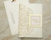 Ivory Shimmer Laser Cut Lace Pocket Fold Wedding Invitation Mirror Gold Mat Tag RSVP Envelope Cream Beige Bridal Shower Baby Birthday Folder