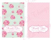Shabby Chic English Rose Thank You Cards Girls Birthday Party Bridal or Baby Shower Wedding Digital DIY Pink Blue