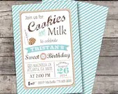 Vintage Cookies and Milk Invitation Birthday Party Bridal or Baby Shower Wedding Invitation Digital File Red Blue