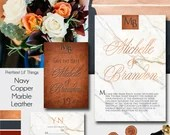 Marble Navy Blue Copper and Leather Wedding Invitations RSVP Save The Date Modern Green Rose Gold Bridal Shower Baby Shower  Birthday Party