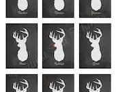 Digital Chalkboard Reindeer Signs Rudolph Christmas Holiday Wall Display Deer Head Silhouette Stag Antlers Art Home Decor Picture Vintage