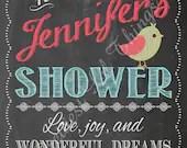 Shabby Chic Chalkboard Tweet Little Birdie Bird Welcome Sign Baby Bridal Shower Wedding Birthday Party Digital File