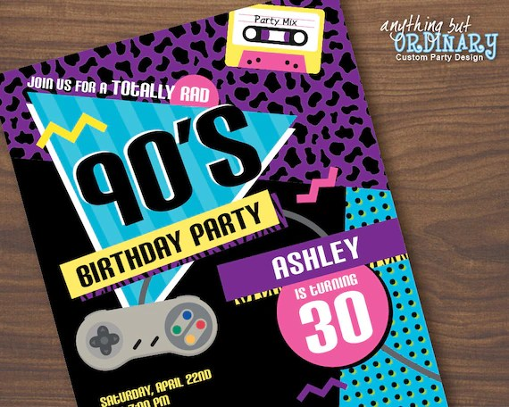90s birthday party invitation 1990s flashback party invites printable 90s party digital file