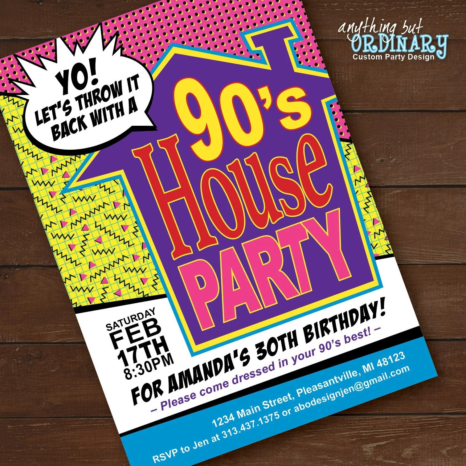 90s house party invitation house party flashback birthday invite printable 1990s throwback party invites digital file