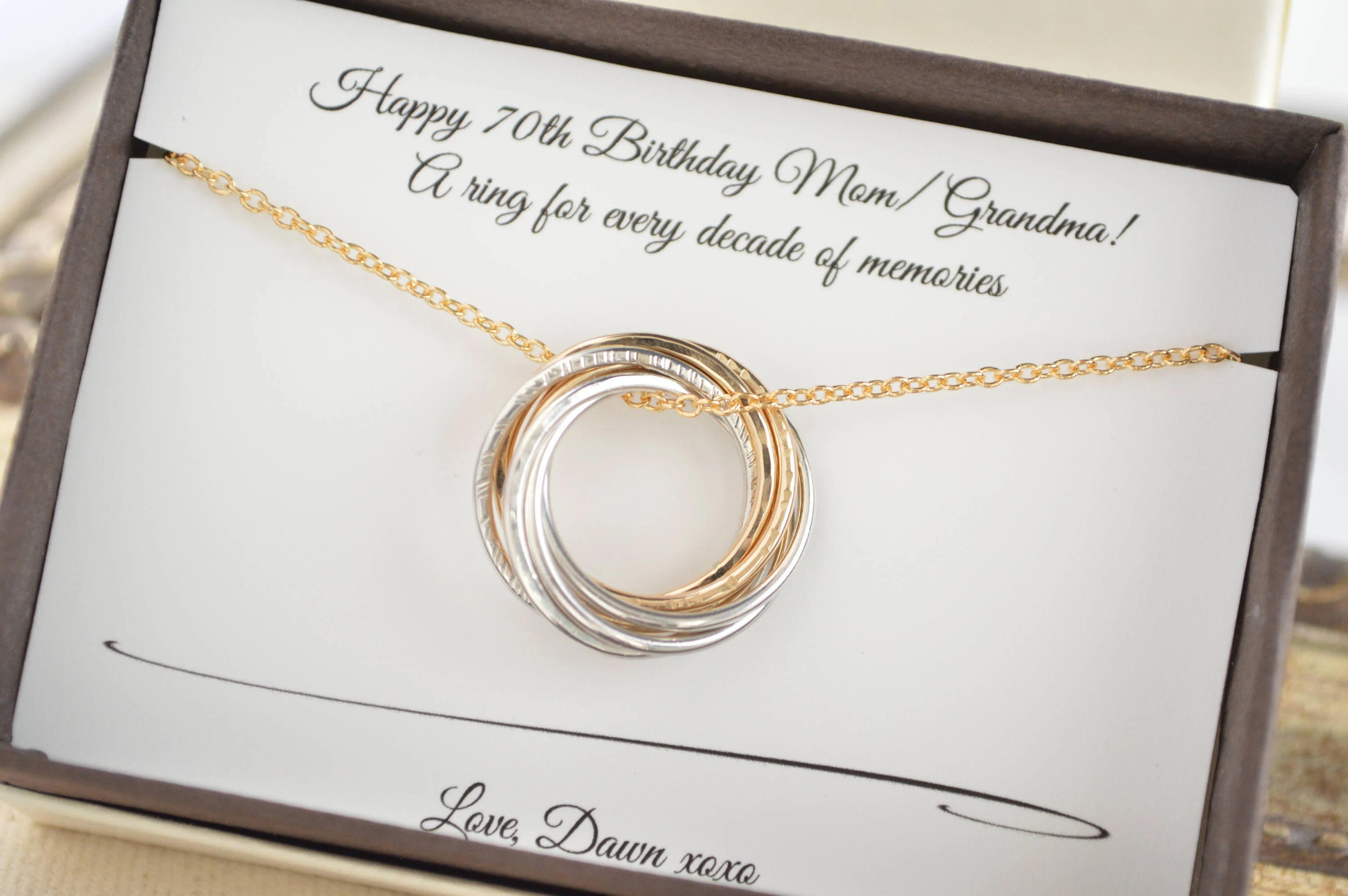 70th Birthday Gift For Mom And Grandma Necklace, 7th