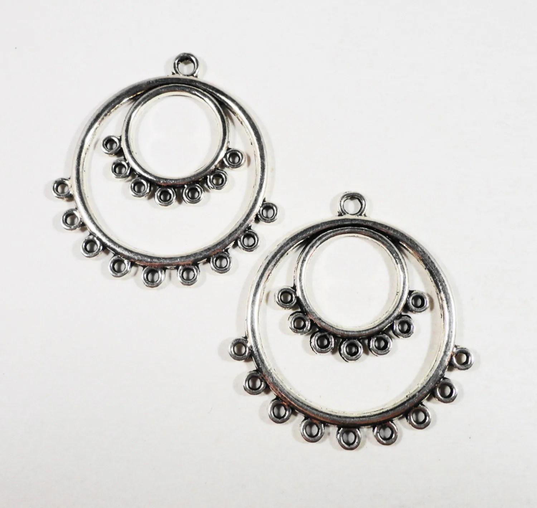Hoop Earring Connectors 36x34mm Antique Silver Chandelier
