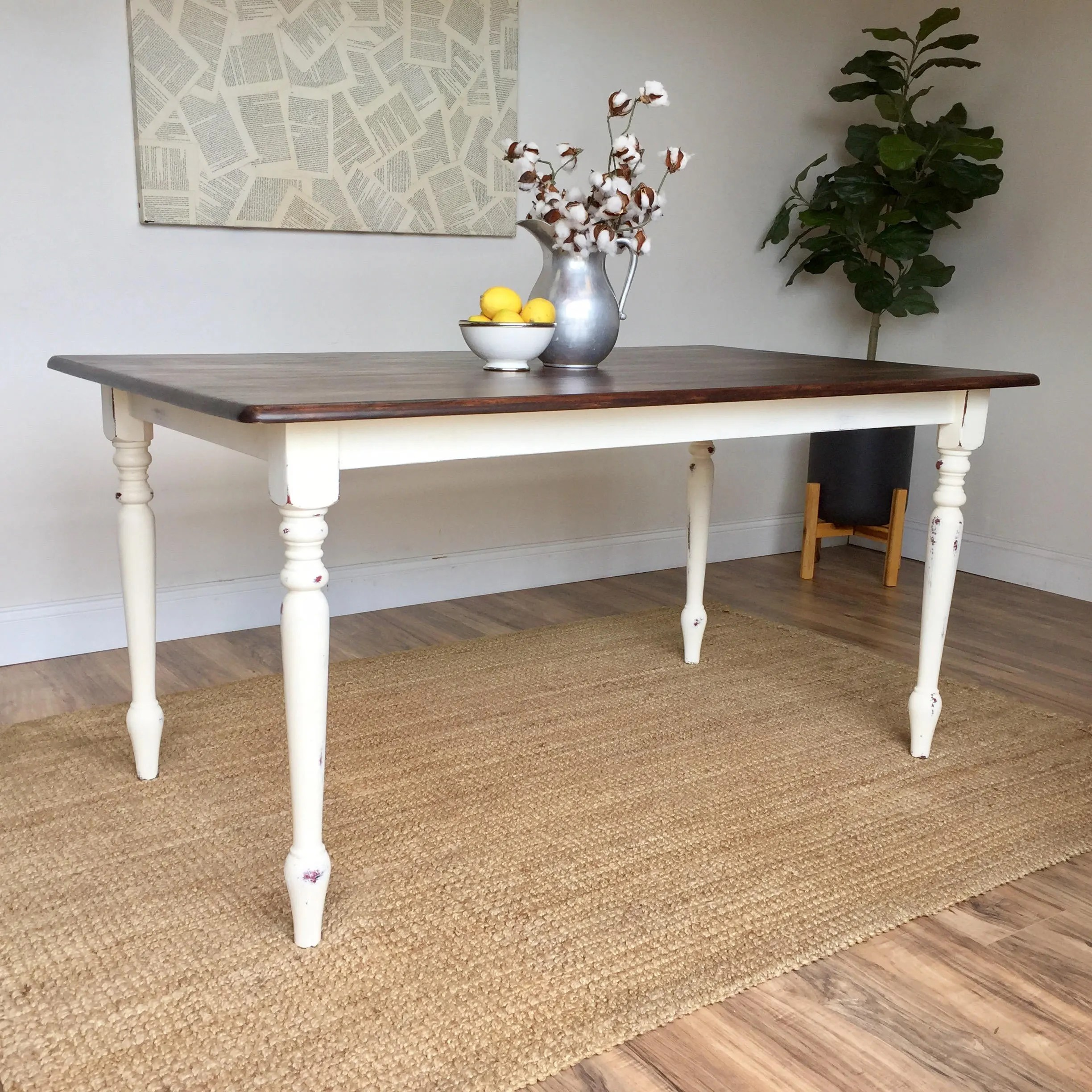 Distressed Kitchen Table Small White Dining Table Country Cottage Furniture Farmhouse