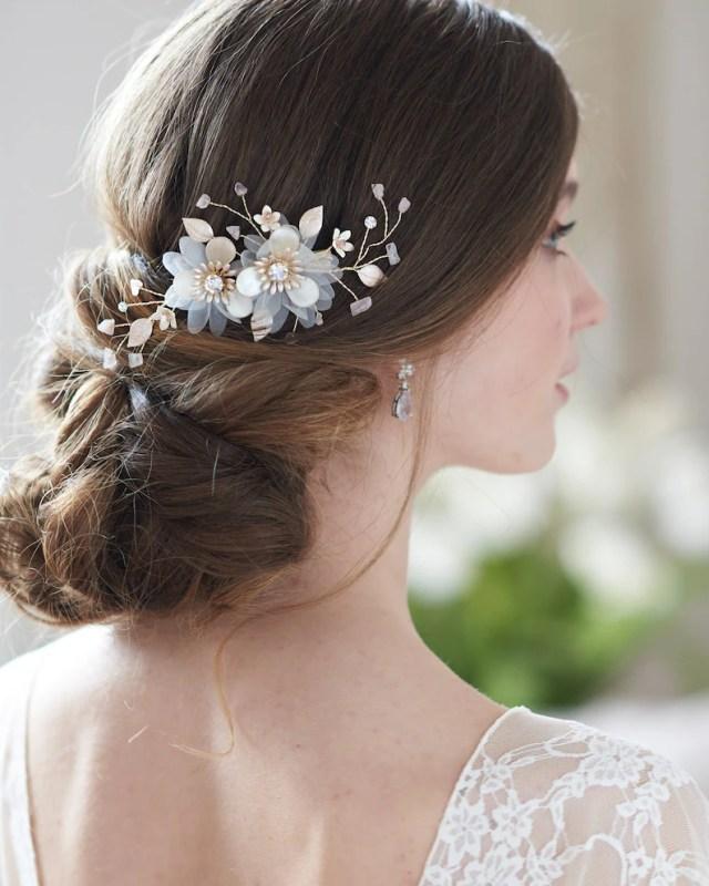 gold wedding hair clip, floral bridal hair clip, rhinestone hair clip, gold headpiece, hair comb, bridal clip wedding hairpiece ~tc-2338-g