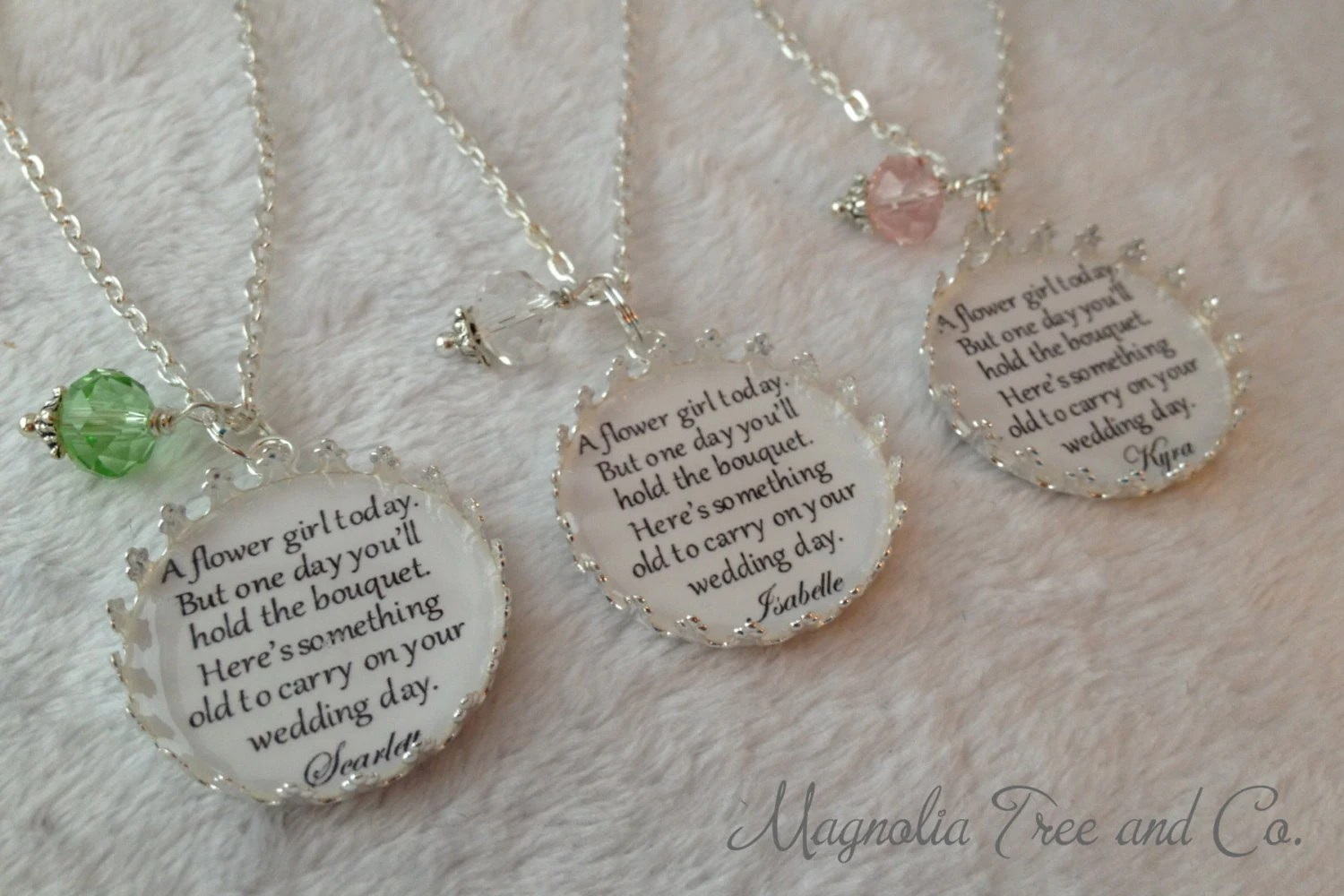 Flower Girl Necklace Bridesmaid Necklace Personalized Bridal image 4