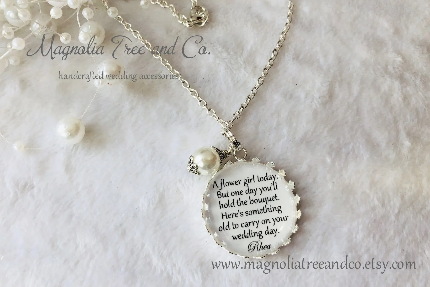 Flower Girl Necklace Bridesmaid Necklace Personalized Bridal image 3