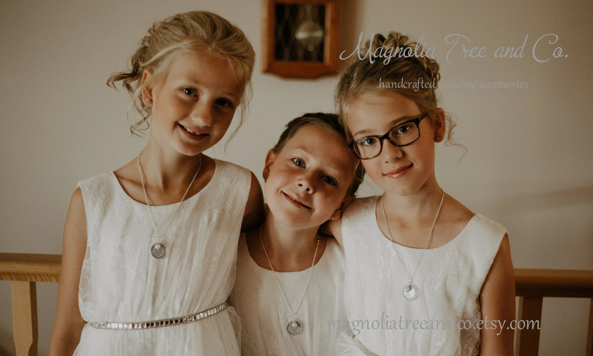 Flower Girl Necklace Bridesmaid Necklace Personalized Bridal image 1
