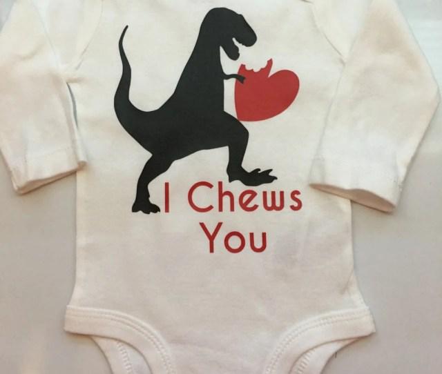 Baby Boy Baby Girl Toddler Boy Valentines Outfit Valentines Chew You Dinosaur Valentines Shirt I Chews You Preemie T