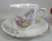 1960s Colclough English Bone China Mis-Matched Teacup and Saucer Set with hand painted accents English Tea Cup
