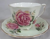 Vintage 1960s Colclough English Bone China Teacup Footed Rose English Teacup and Saucer Pretty Pink Tea Cup