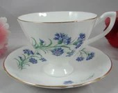1960s Vintage English Castle Bone China Teacup Footed Blue English Teacup and Saucer Blue Tea Cup