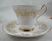 """1970s Royal Victoria English Bone China """"Montague Bridgman""""  Teacup and Saucer classic English Tea cup"""