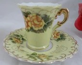 Charming Hand Painted Lefton Yellow Rose Demitasse Teacup and Saucer set  cappuccino coffee tea cup