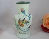 Vintage Hand Painted Applique Frosted Green Glass Bud Vase
