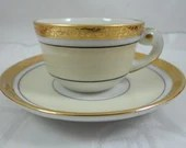 Vintage French LC&J  Espresso Cappuccino Teacup and Saucer  Tea Cup Set