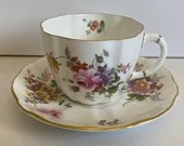 Vintage 1940s Vintage Royal Crown Derby English Bone China Floral Posies Spray Teacup and Saucer Rd No 839892 - 5 Available