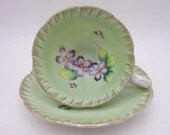 Spectacular Hand Painted Vintage Japan Green and Purple Orchid Teacup and Saucer - Just Amazing