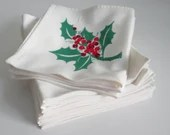 Set of 12 Vintage Red and Green Holly Berry and Leaf Napkins a Fun Vintage Table Setting Accessory